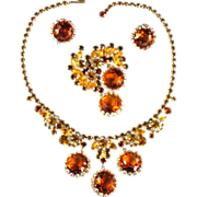 SALE Vintage Juliana Topaz Rhinestone Necklace, Brooch and Earrings Set by DeLizza and Elster