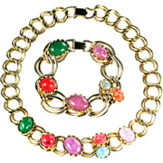 Coro Pastel Cabochon Necklace and Bracelet