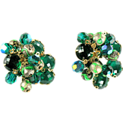 Green Bead and Rhinestone Cluster Earrings