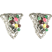 Flower Leaf Pave Dress Clips Vintage Set