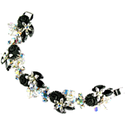 Black Roses Rhinestone Bead Bracelet