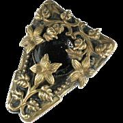Victorian Revival Black Button Flower Dress Clip