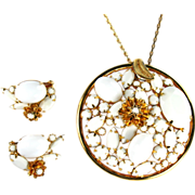 Alice Caviness White Cabochon Rhinestone Pendant Necklace and Earrings