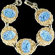 Iridescent Blue Art Glass Cabochon Bracelet