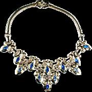 Barclay Blue Rhinestone Fleur de Lis Necklace