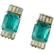 Vendome Emerald Green Glass Vintage Earrings