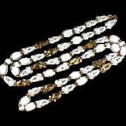 White Bead Flower Design Long Necklace