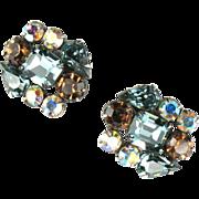 Weiss Blue Topaz AB Rhinestone Earrings