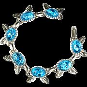 Iridescent Blue Confetti Cabochon Bracelet