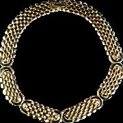 Black Enamel Brickwork Link Necklace