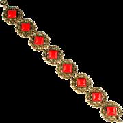 Czech Red Square Cabochon Bracelet