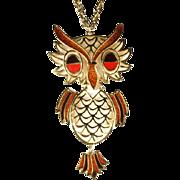 Brown Orange Enamel Owl Pendant Necklace