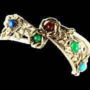 Jeweltone Cabochon Hinged Bracelet