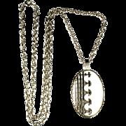 White Enamel Wave Design Pendant Necklace