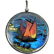 Sterling Butterfly Wing Hand Painted Sailing Ship Vintage Pendant