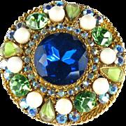ART Blue Green Rhinestone Brooch