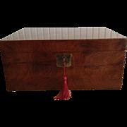 SALE English Burl Walnut Document Box, Brass Handles, Key & Lock