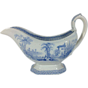 SOLD Blue and White Transferware Sauce Pitcher, C.1844