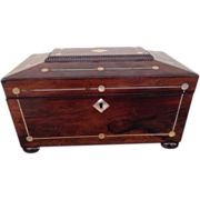 SOLD Victorian Mahogany Mother-of-Pearl  Work or Jewelry Box