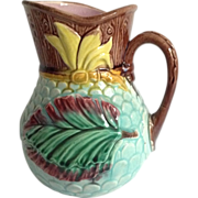 Majolica Pitcher with 'Pineapple Relief'