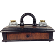 SOLD Antique Double Ink Well Desk Set, English Victorian