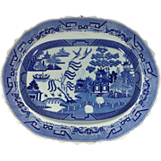 """SOLD English Staffordshire Blue Willow 19"""" Platter  C. 1840"""