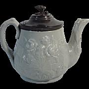 C.1860 English Gray-Blue Stoneware Tea Pot