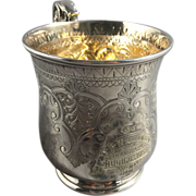 1881 English Silver Plated Christening Cup