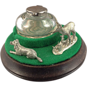 SALE Glass Ink Well On Mahogany Pedestal with Pewter Standing Deer and Reclining Dog Figurines