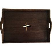 SOLD English Wooden Tray With Compass Styled Inlay