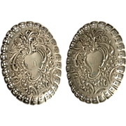 Pair English Sterling Silver Pin Trays, 1901
