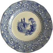 Light Blue and White Transfer Ware Plate, 1851