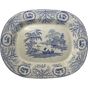 English Ironstone Blue and White Transfer Ware 18 1/2 Inch Platter
