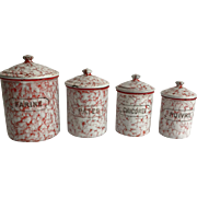 French Enamel/Granite Ware Canister Set