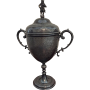 "Trophy Loving Cup with Figurine Lid, 15"" Tall"