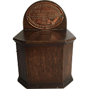 HMS Hercules Copper Grog Forfeiture Plate  On a Wood Collection Box