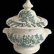 C.1860 English Staffordshire Green and White Transfer Ware Sugar Box