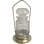SOLD English Crystal Bottle with Silver Plated Holder  C. 1920