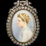 English Miniature Portrait Young Lady,  C. 1910