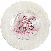 Child's English Red Transfer ware Child's Plate  'The Warrior' c.1850