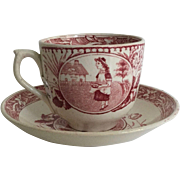 1886 English Red Transfer Ware Cup and Saucer