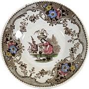 1822-1849 English Staffordshire Polychrome Transfer Ware Saucer