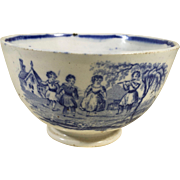 English Staffordshire Blue and White Handleless Cup