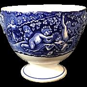 Dark Blue English  Transfer Ware   Wine Cup 'Bacchanalian Cherubs'