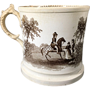 English Staffordshire Brown and White Transfer Ware Mug  C.1840