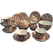English Brown Transfer Ware Child's Tea Set
