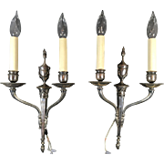 Pair of French Silver Plated Wall Sconces C.1900