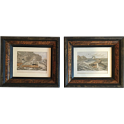 Pair of Framed Lithographs by M. Körner, a Well-Known 19th Century Swedish Artist