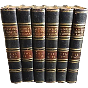 19th Century Leather Bound Books: The Museum of Science & Art 12 volumes