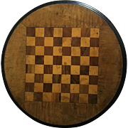 English Vintage Wooden Round Checker/Chessboard
